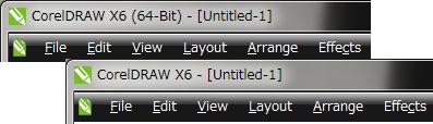 X6 CorelDRAW タイトルバー比較