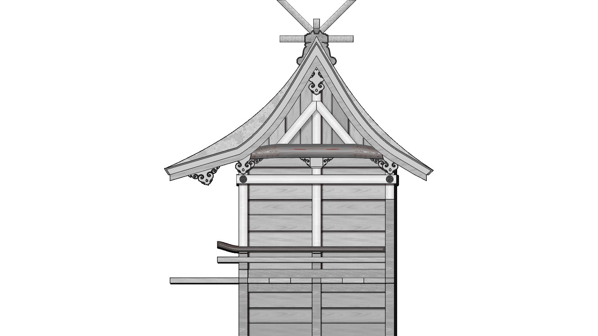 氷川女体神社 本殿 イラスト ワイヤーフレーム画像